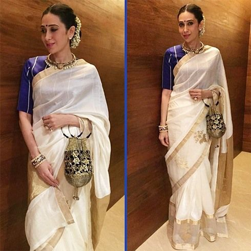 Karisma Kapoor in Chanderi Silk Saree.