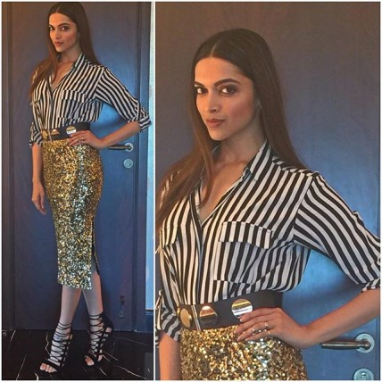 Deepika goes stripes