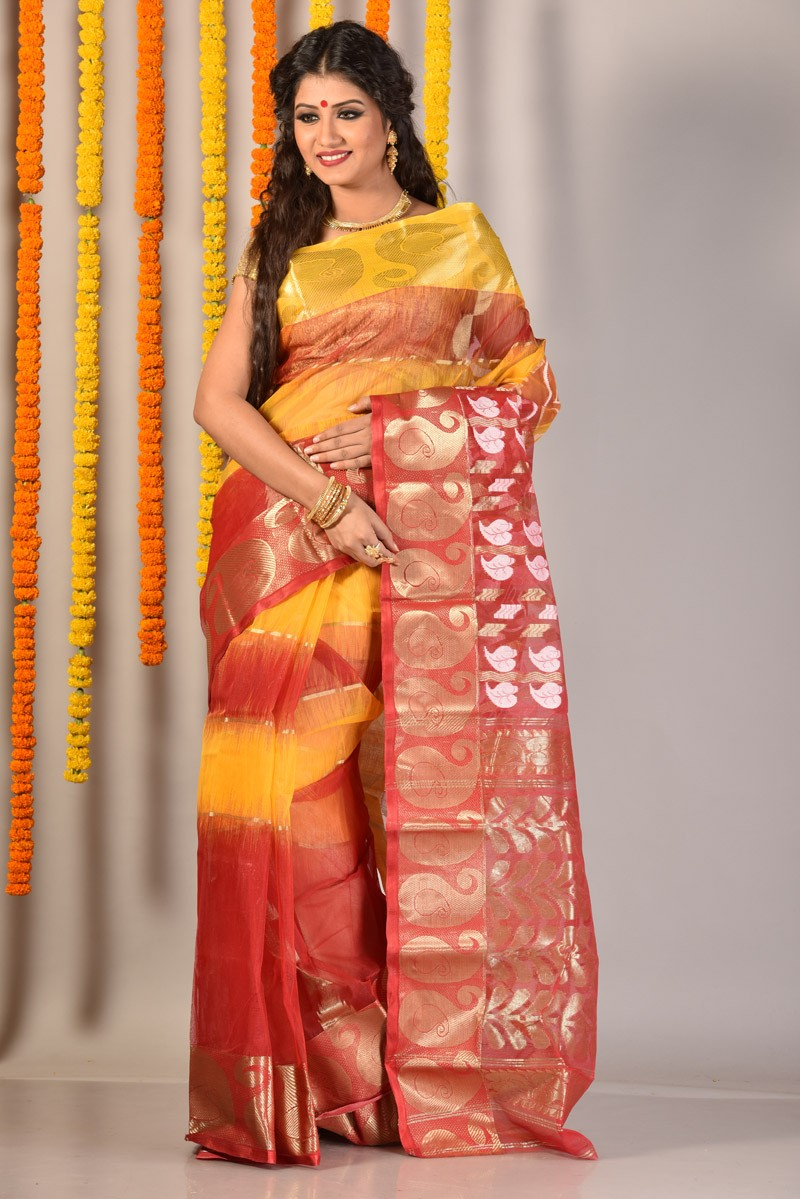 The model in designer tant saree.