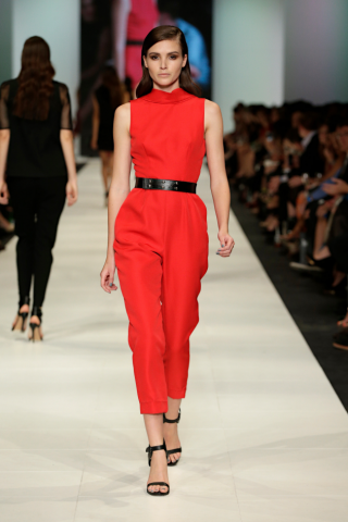 The model in high-neck jumpsuit.