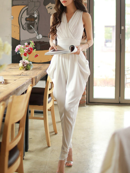 The model in plain spandex jumpsuit.