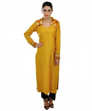 The Model in Mustard pure silk kantha hand embroidered long kurti.