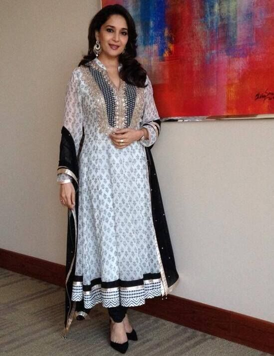 Madhuri Dixit in V Neck Anarkali Black and White Salwar Kameez of Anita Dongre.