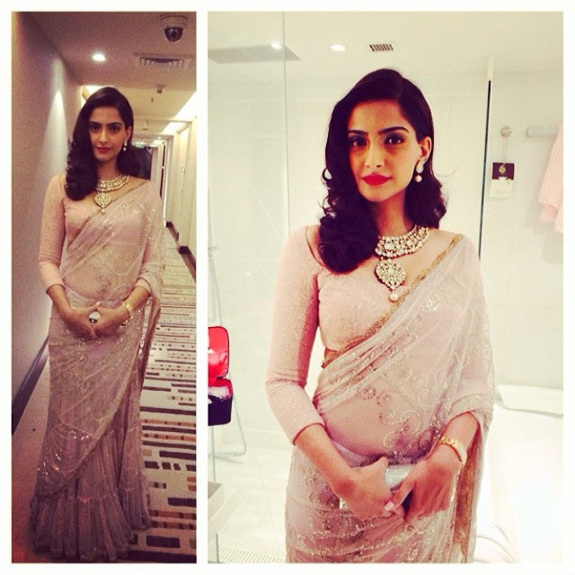Bollywood Actress Sonam Kapoor's formal saree look.