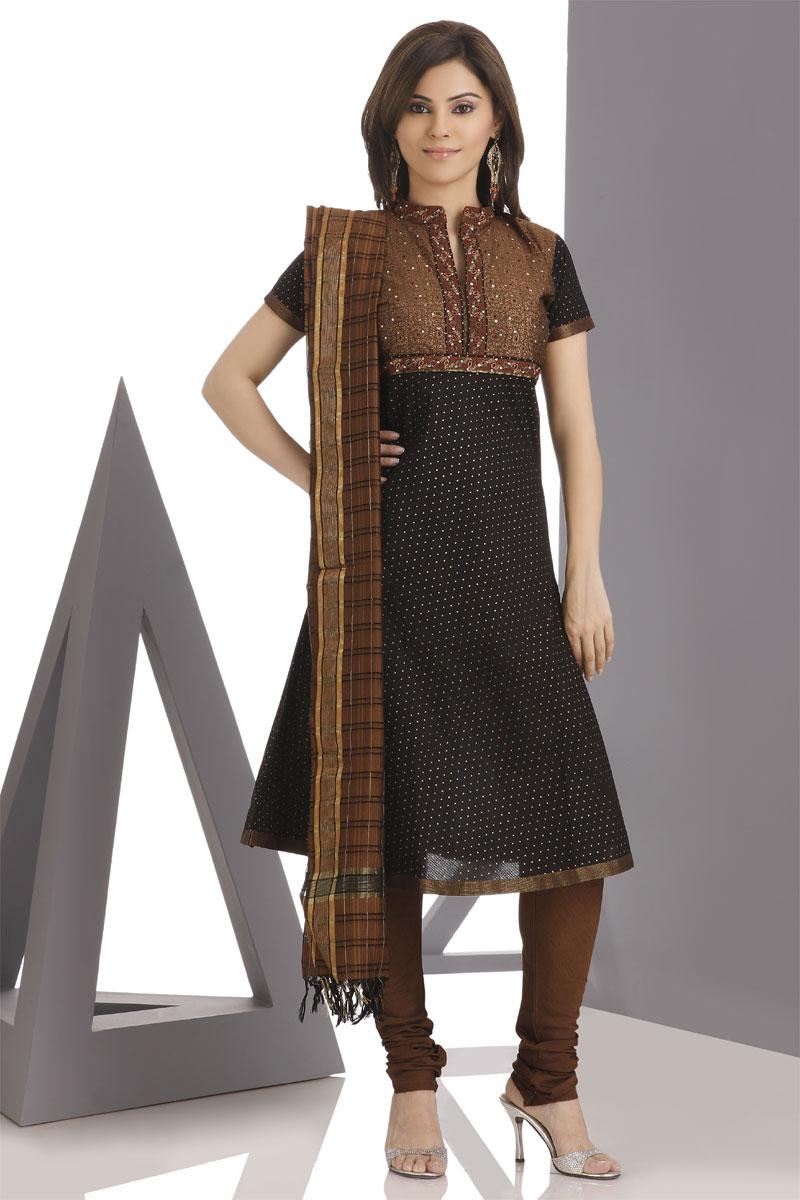 The model in formal salwar suit.