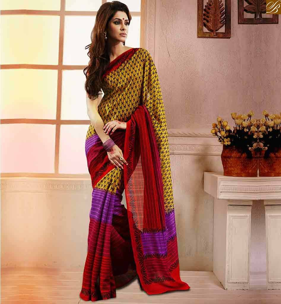 The model in casual saree look.
