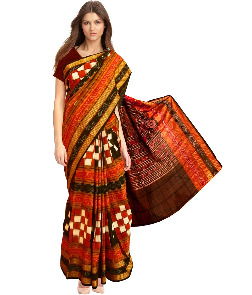 The model in Bhavya Red Cotton Sambalpuri Saree.