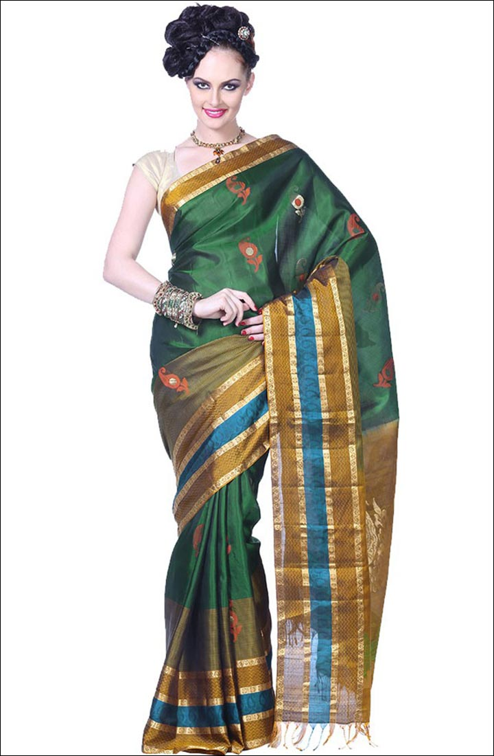 The model in Konrad Silk Saree.