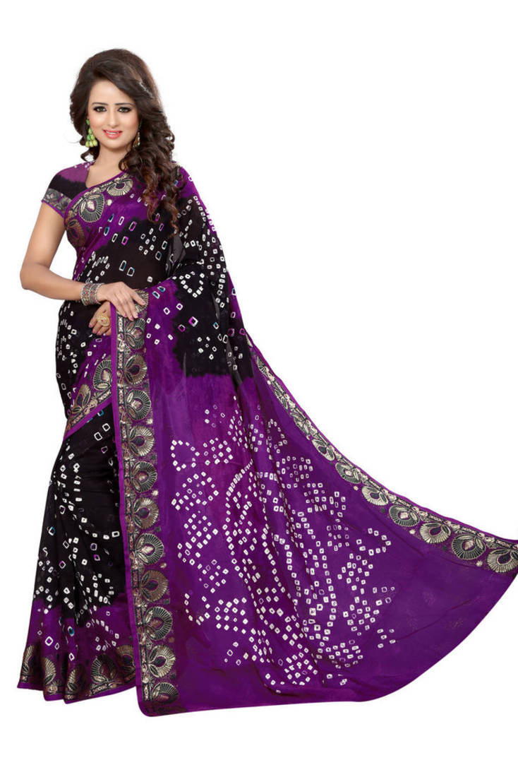 The model in Violet hand woven jacquard saree.