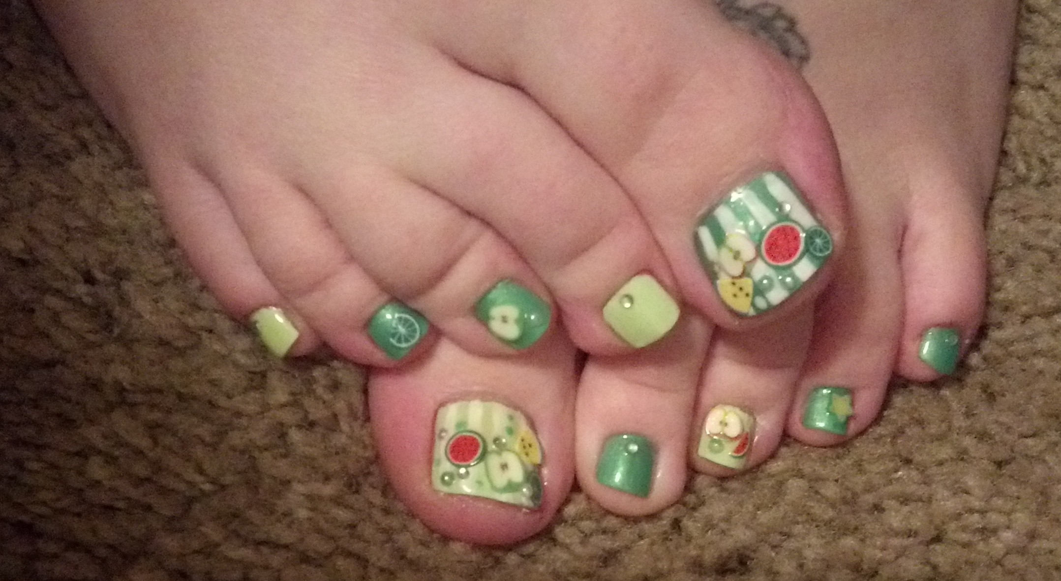 Fruits Toe Nail Art.
