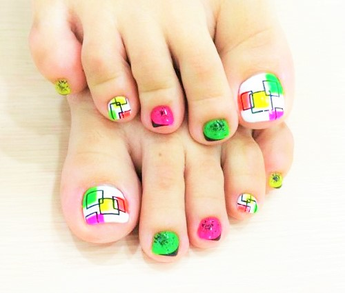 Fun Colorful Squares Toe Nail Art