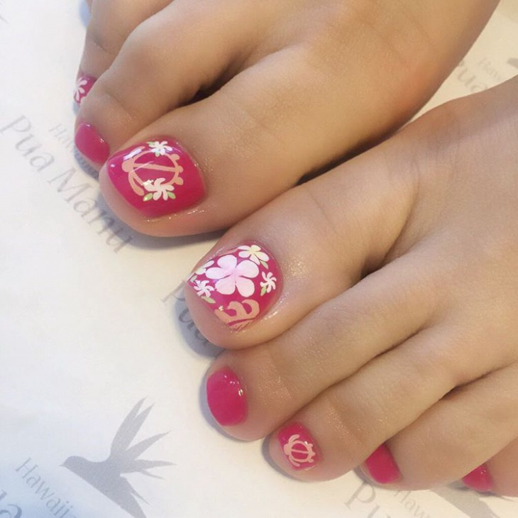 Hawaiian Flower Toe Nail Design
