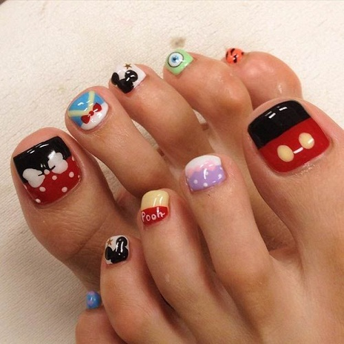 Pooh and Mickey Toe Nail Art