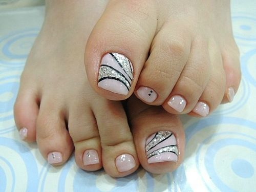 Silver Swirls with Pink Base Toe Nail Art