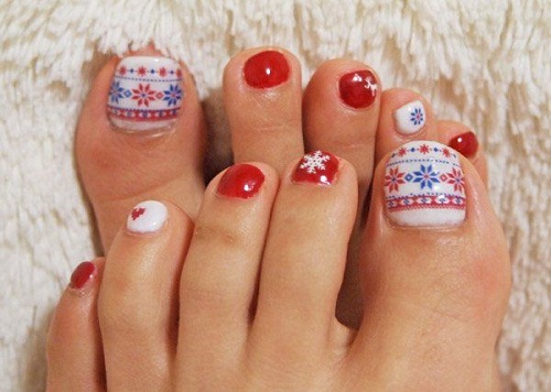 Snow Flakes Toe Nail Design Art