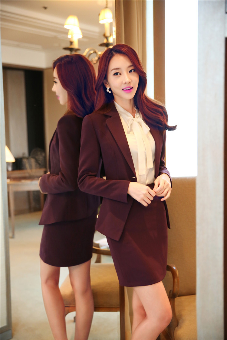 The model in Blazer with Formal Skirt.