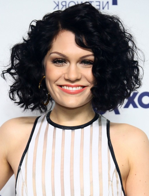 Jessie J in Short Black Curly Bob Hairstyle.