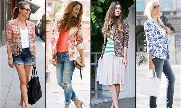 Women in Printed Blazer Fashion Style.