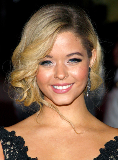 Sasha Pieterse with Blonde Curly Updo.