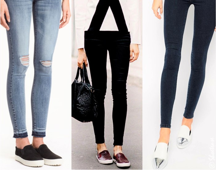 Slip on Sneakers with Skinny Jeans.