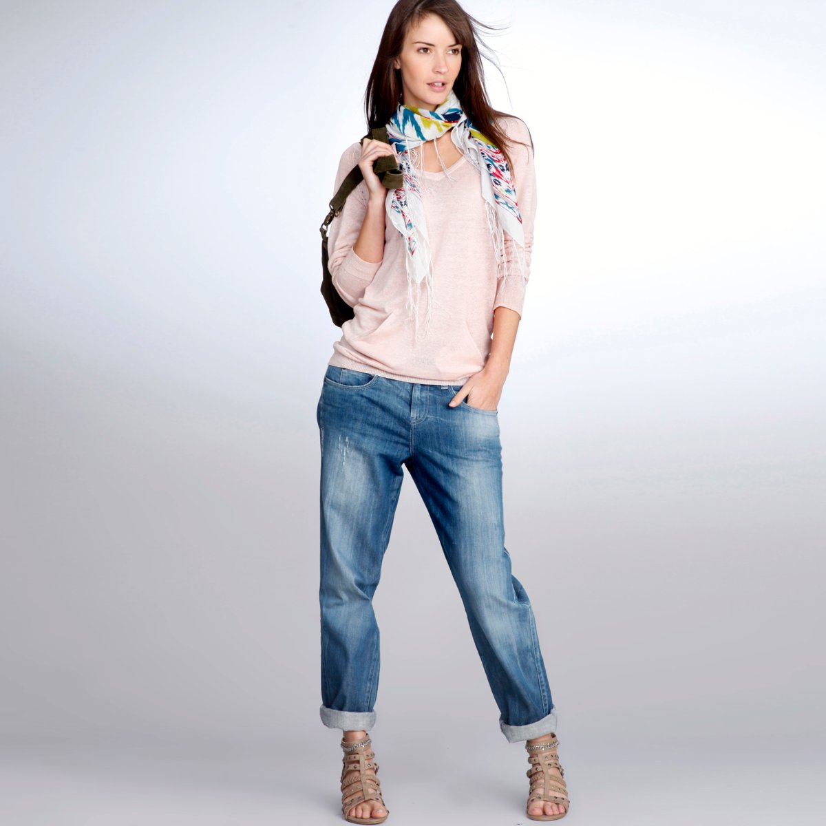 The model in Boyfriend Jeans
