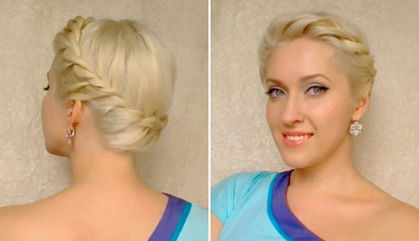 The model with Twisted Braid Crown Hairstyle.