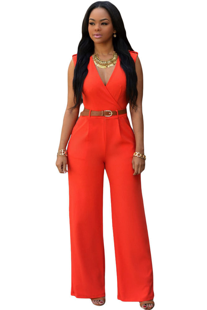 The model in V-neck jumpsuit.