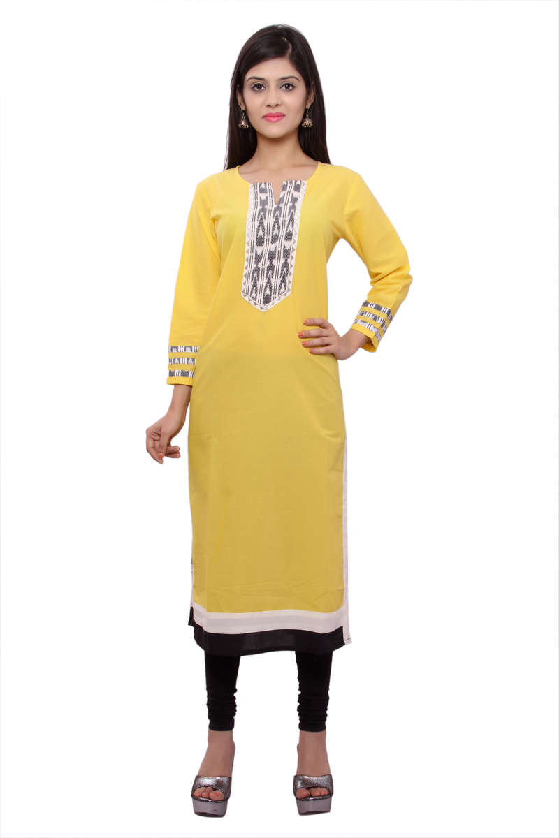 The model is wearing Yellow Embroidered Front Placket churidar.
