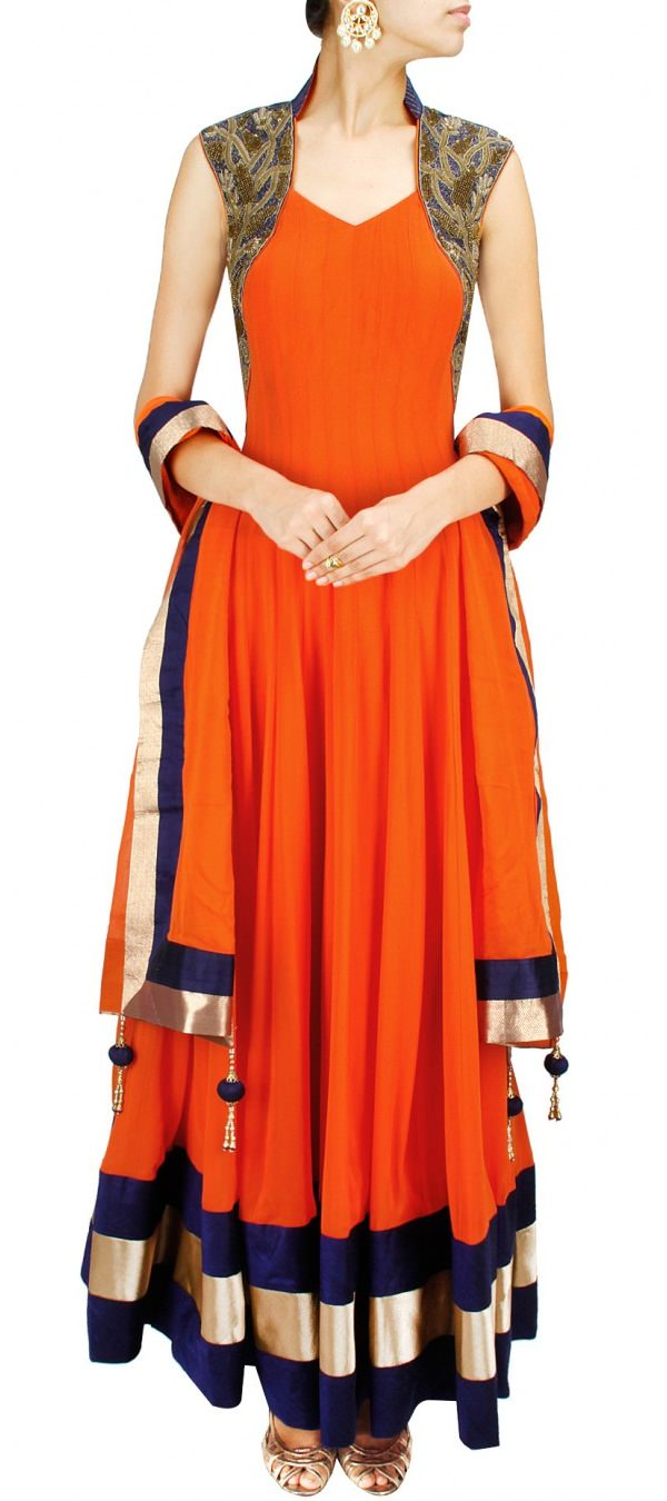 The model is wearing Queen Anne churidar With A Scoop Neckline.