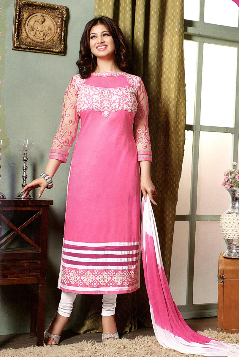 Ayesha Takia is wearing Churidar Suit with Cotton Patch Work Pink Semi Stitched Crew Neck.
