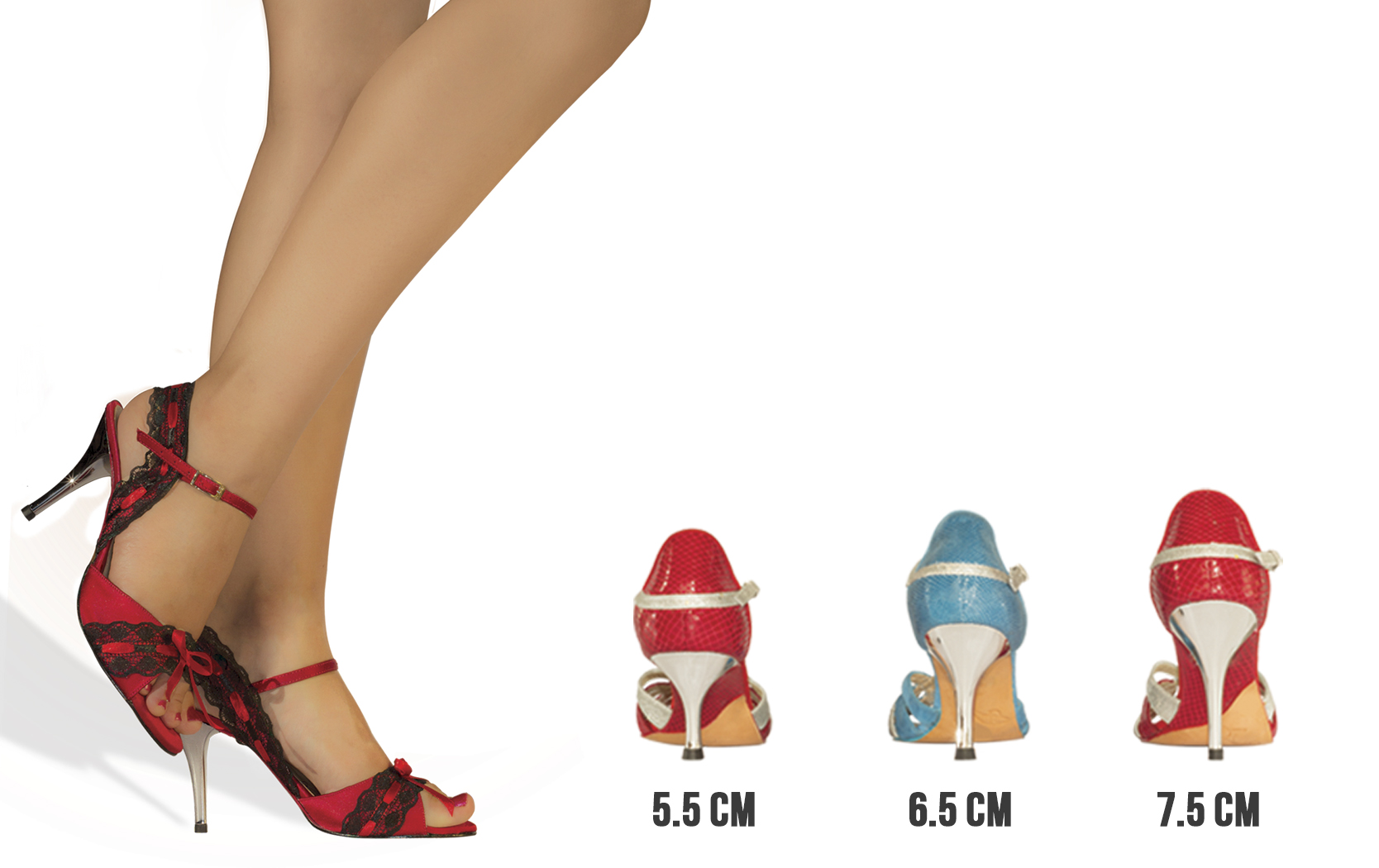 Heel height options with proper measurements in centimeter.