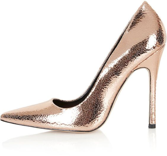 Rose gold crackled leather high skinny heel court shoes.