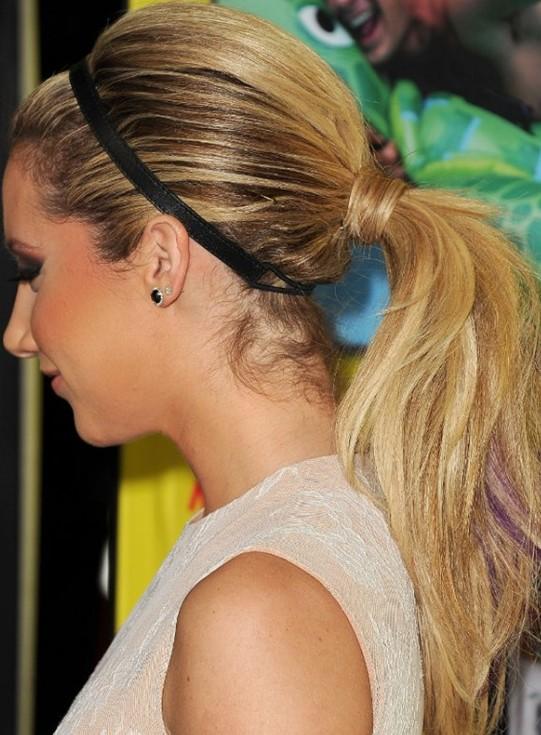 Hairstyle DIY ponytail with headband like ashley tisdale.