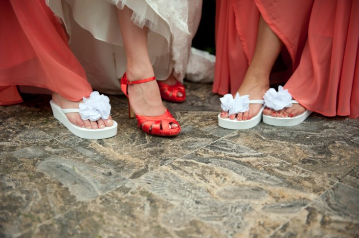 Funky flip flops worn in wedding.
