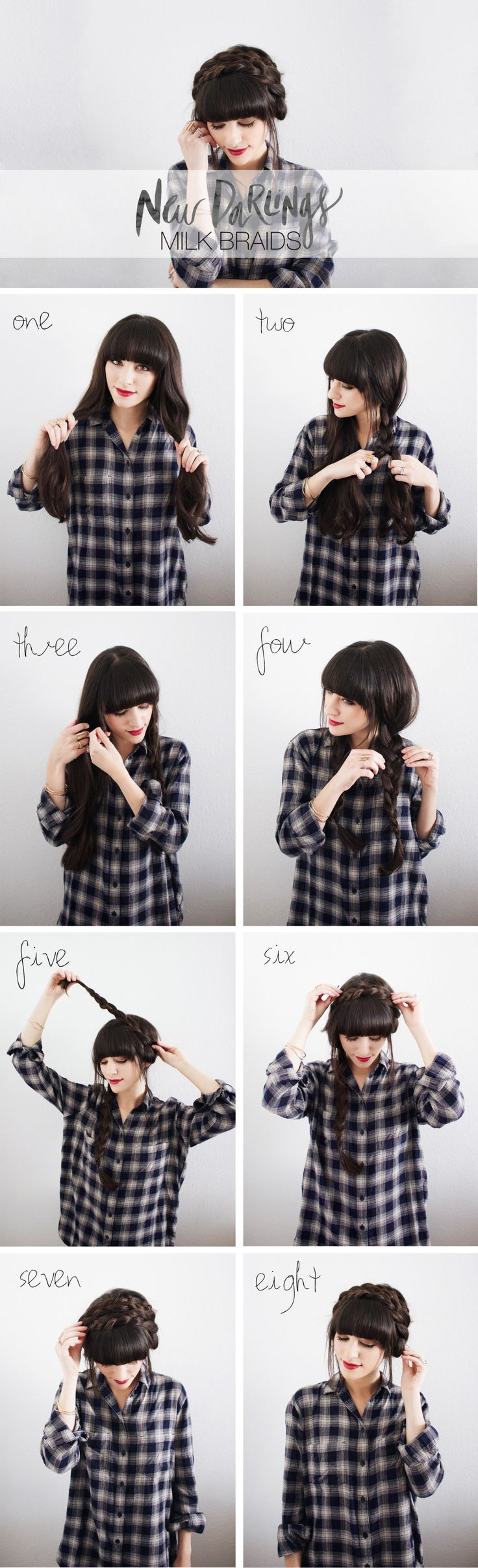 The model is showing how to make Stylish Milkmaid Braid.
