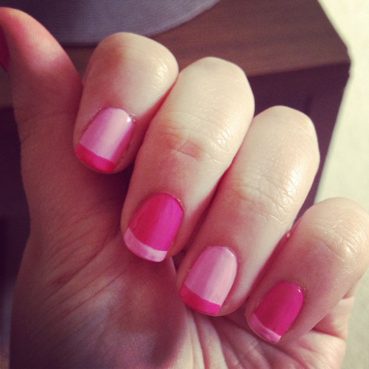 Contrasting Pinks Nail Design.