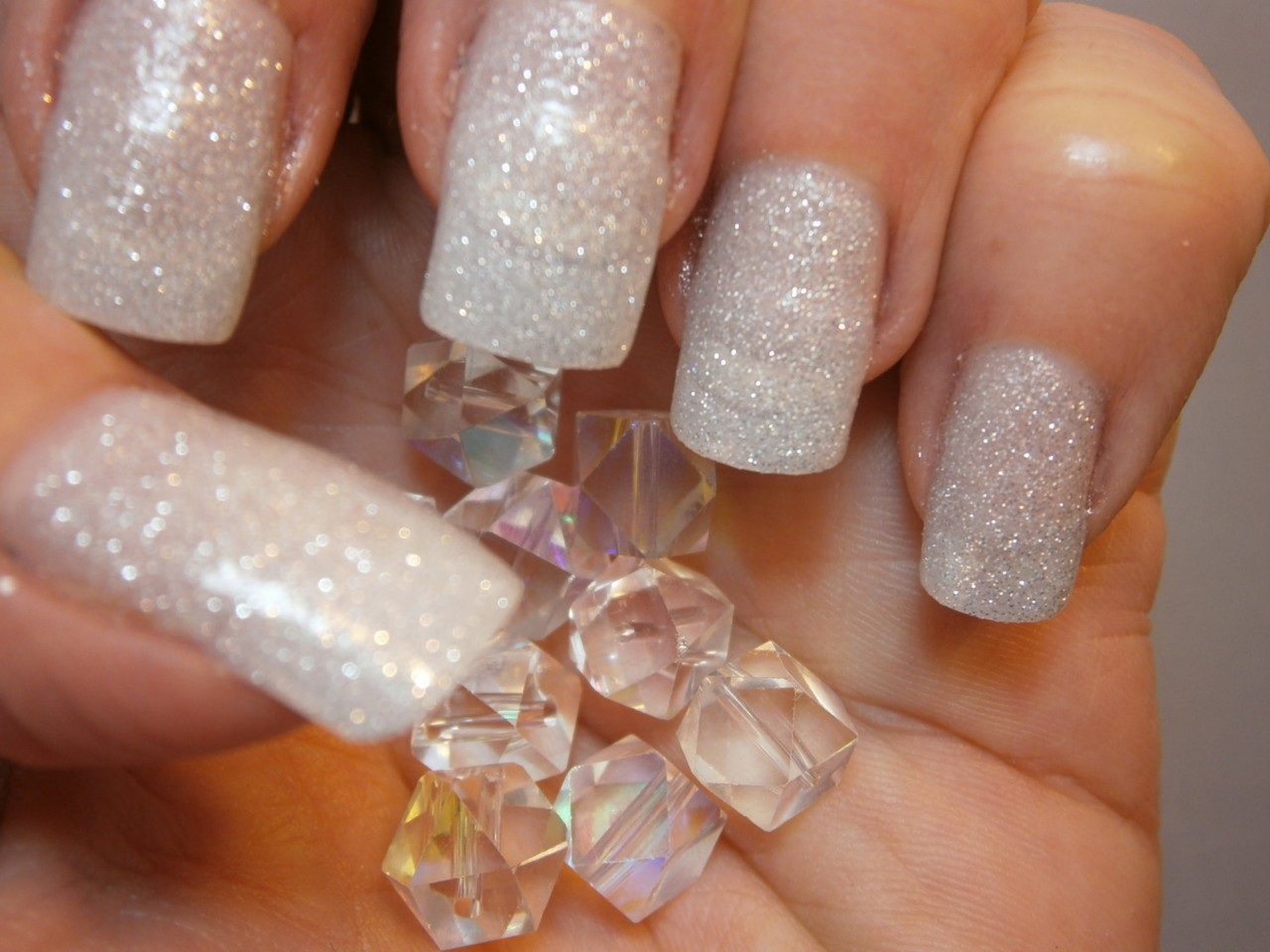 Sparkly White Nail Design