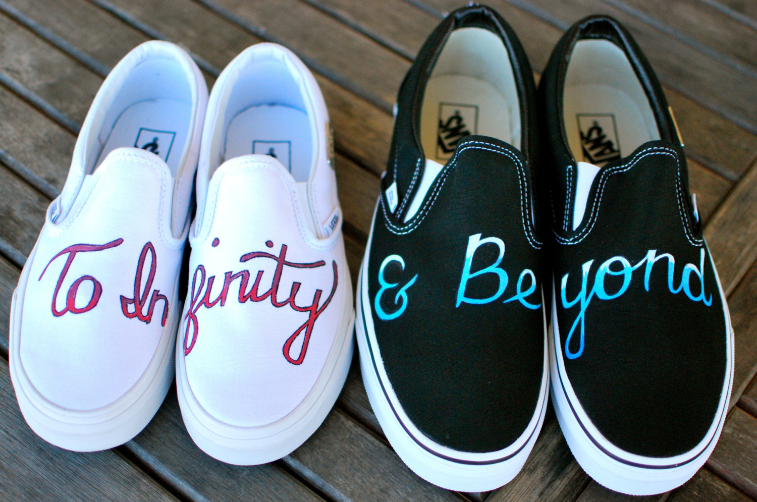 Couples inserted quotes on their simple shoes.