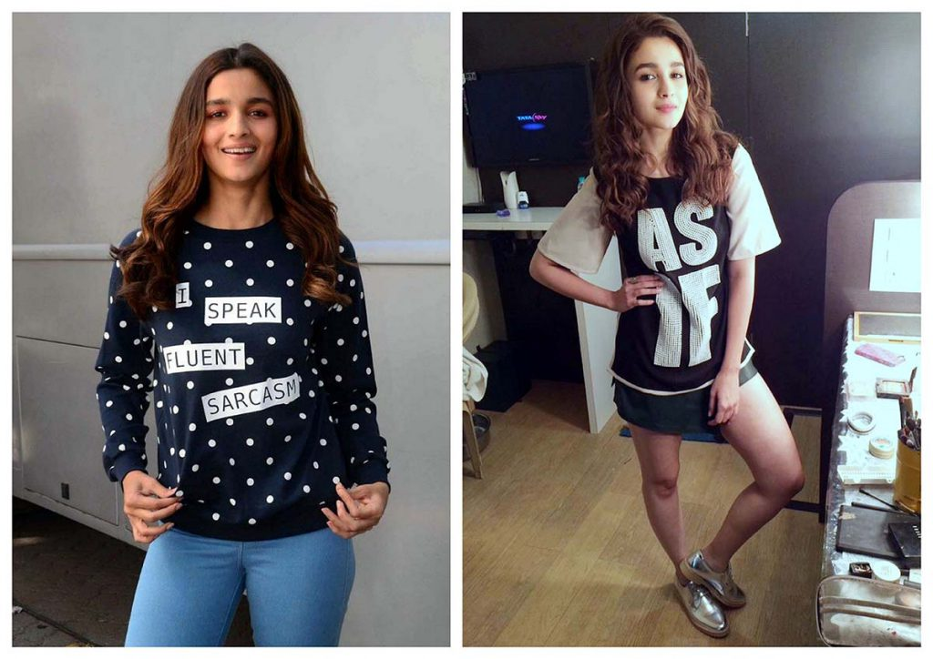 Alia in tees with slogans