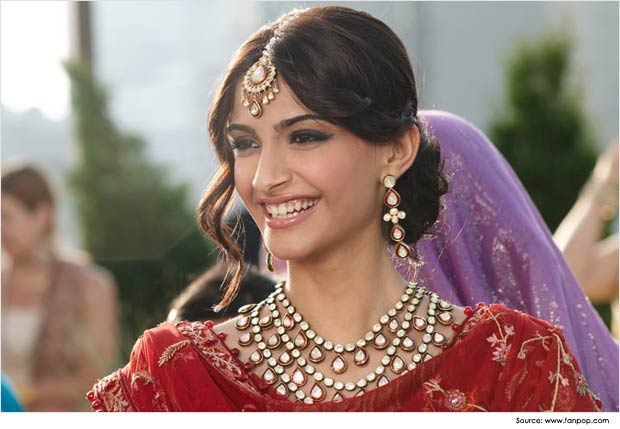 Sonam Kapoor in Medium partition bun