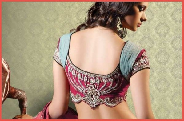 Blouse U Back Neck Designs With Patch Work