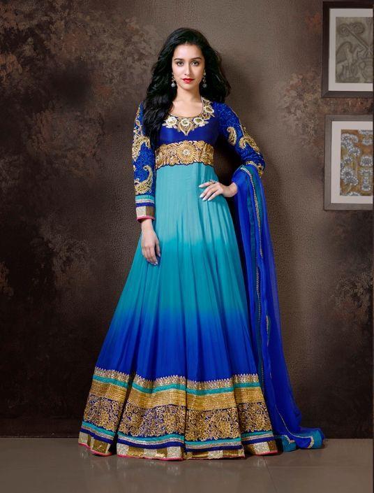 Blue Shaded Anarkali