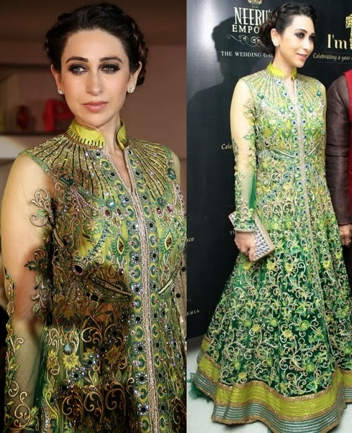 Karishma Kapoor in a full-embroidered anakali