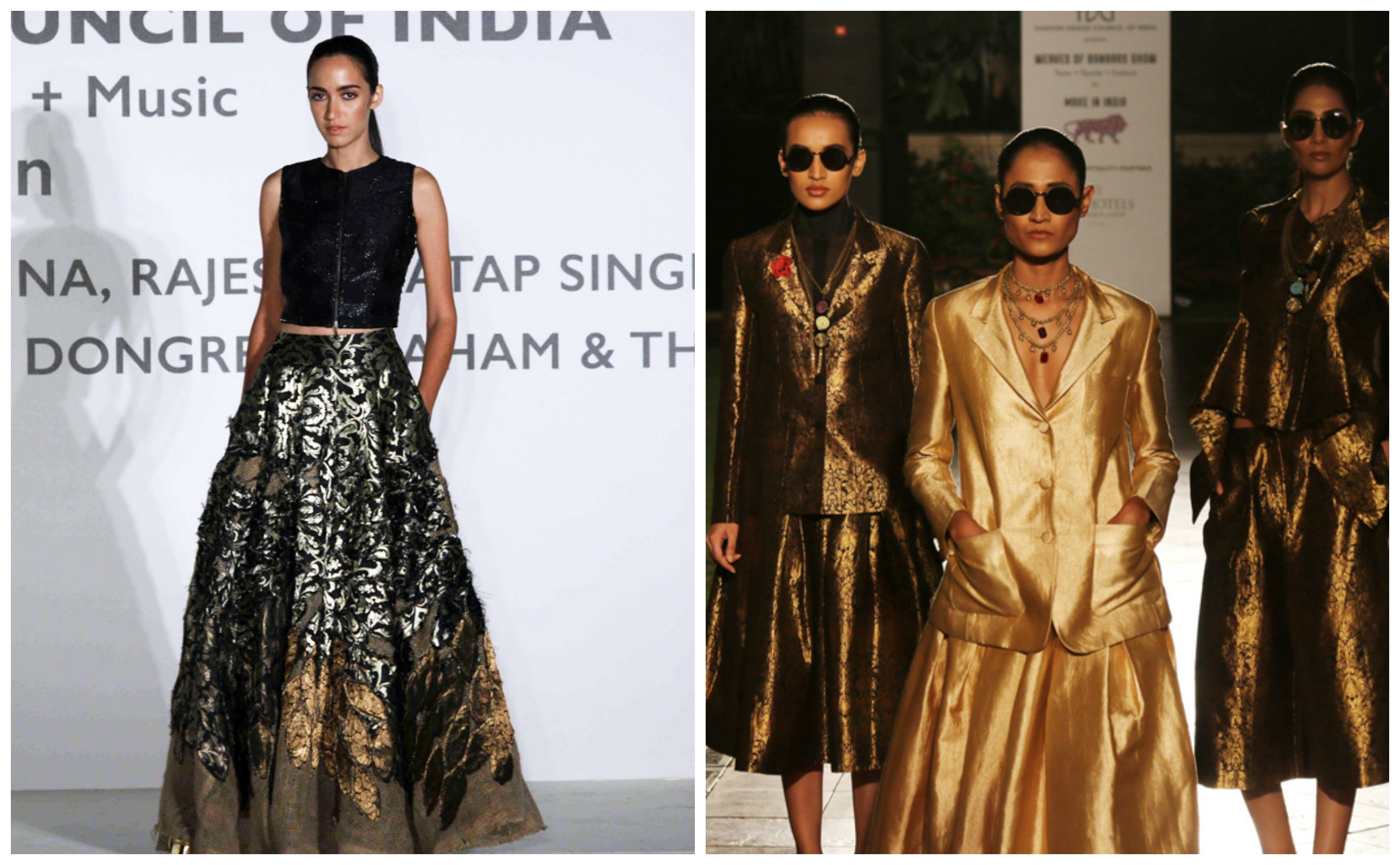 Add on's to the modern day attire, collection by Abraham & Thakore(Left) and Rajesh Pratap Singh(Right)