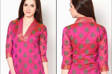 V neck kurti with high back