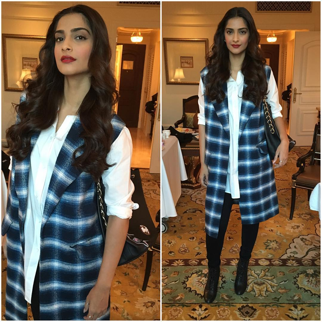 """Sonam in checkered waistcoat by Dhruv Kapoor at """"Neerja"""" promotions"""