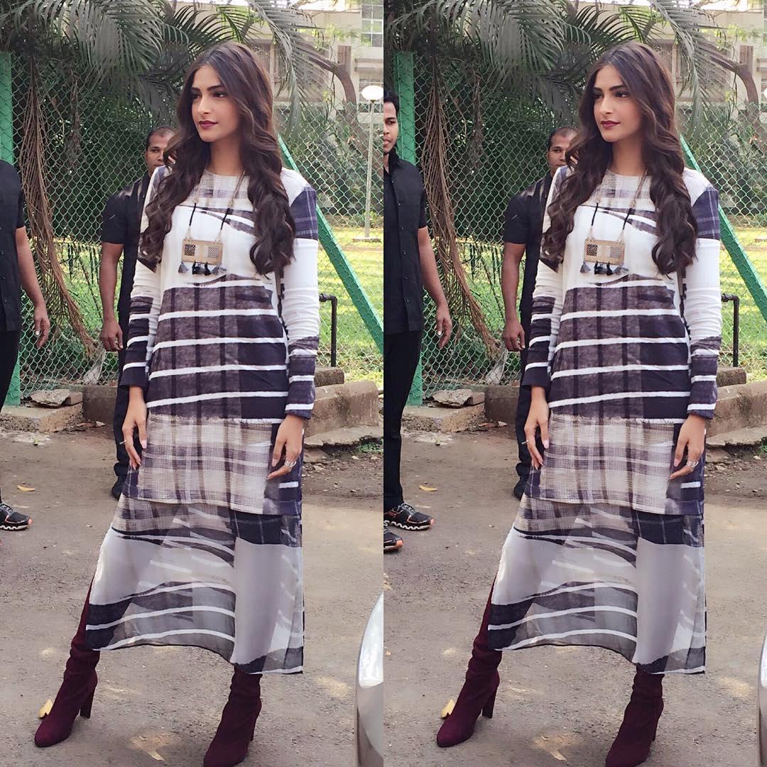 Sonam Kapoor in H&M maxi dress for Neerja promotions