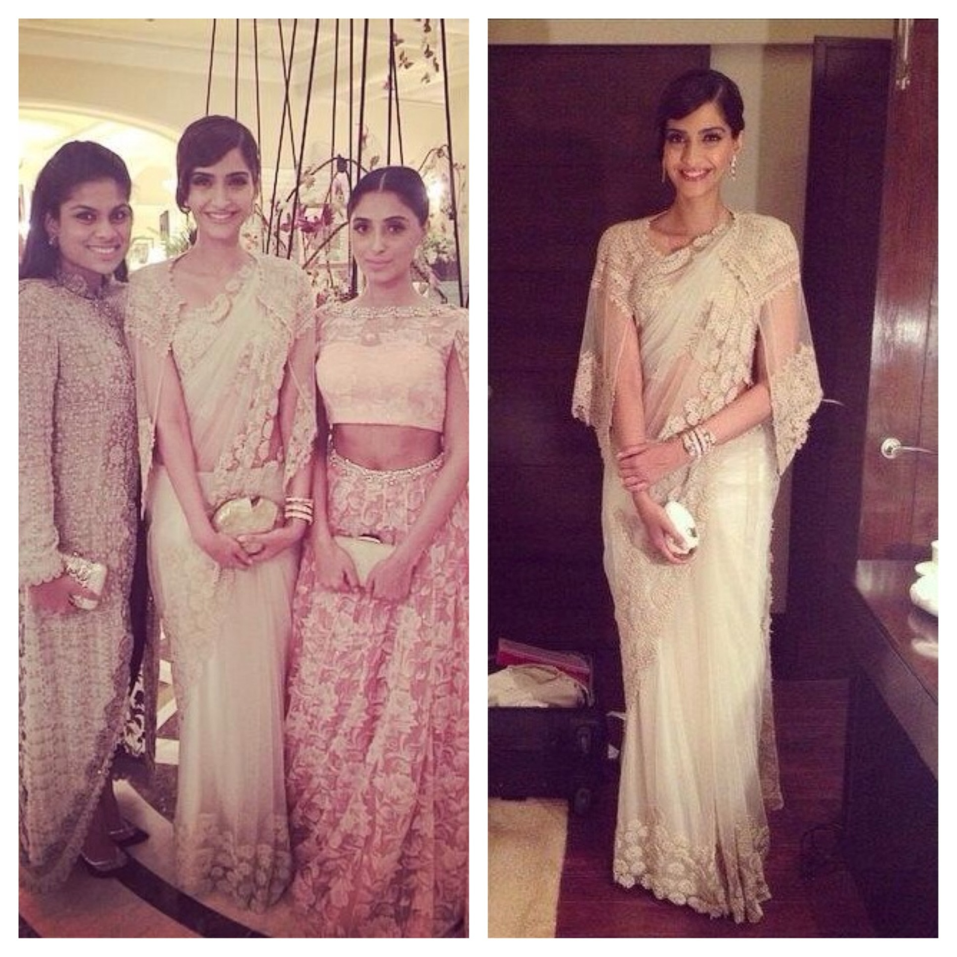 Sonam in another saree by Anamika Khanna with cape blouse