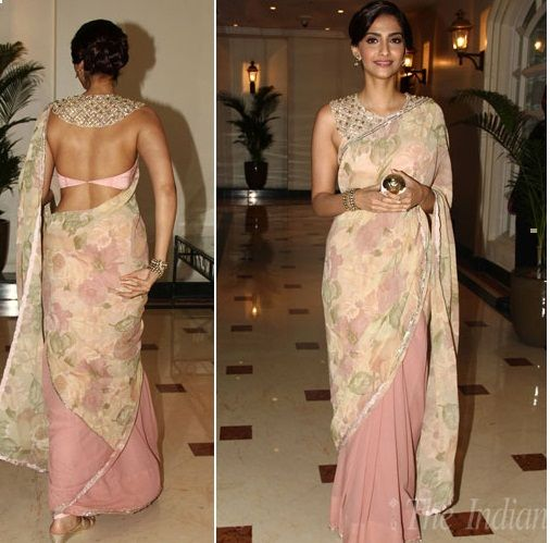 Sonam in her backless blouse; outfit by Shehla Khan