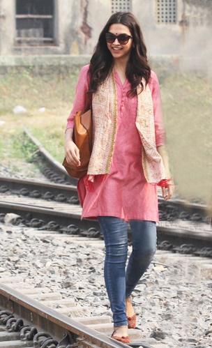 Deepika wearing a casual kurta with jeans